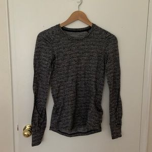 Heather Black Lululemon LS Running Top
